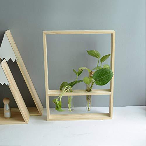 ChaRLes Holz Test Tube Rack Blumenarrangement Hydroponische Pflanzendekorationen - L