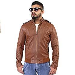 BBGJ tan color pu leather regular fit jacket for men