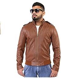 BBGJ tan color pu leather regular fit jacket for men