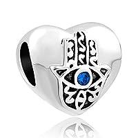 ReisJewelry Blue Evil Eye Charms Hand Of Hamsa Charm Bead For Bracelet