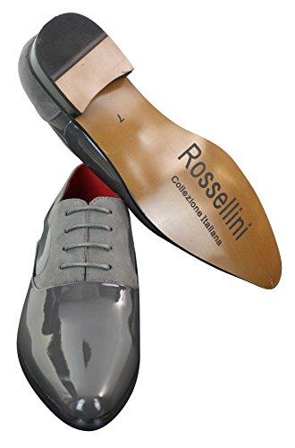 Chaussures à lacets vernies brillantes designer italien cuir daim habillées élégantes homme Gris