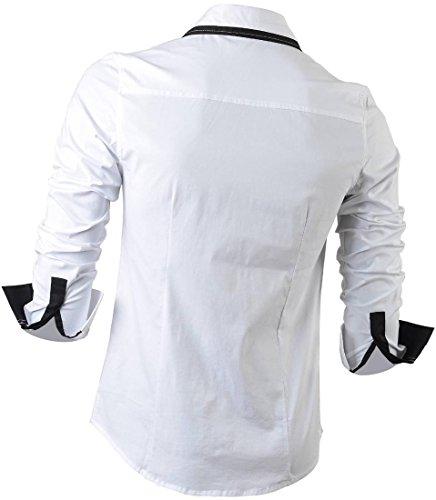 ... jeansian Herren Freizeit Hemden Shirt Tops Mode Langarmlig Men's Casual  Dress Slim Fit Z029 8015_White ...