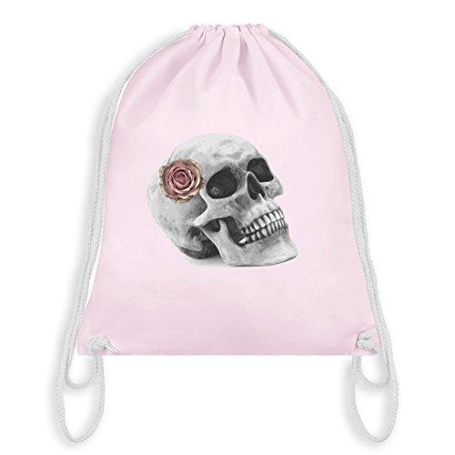 Shirtracer Rockabilly - Totenkopf Rose Vintage Skull - Unisize - Pastell Rosa - WM110 - Turnbeutel &...