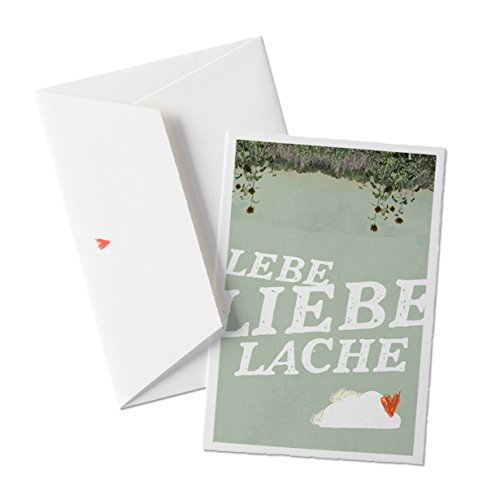 50x Hochzeitseinladungen-Set inkl. Druckservice - Lebe, Liebe, Lache - mit individueller Rückseite Hochzeitseinladung Einladungskarten-Set Büttenpapier bedruckt