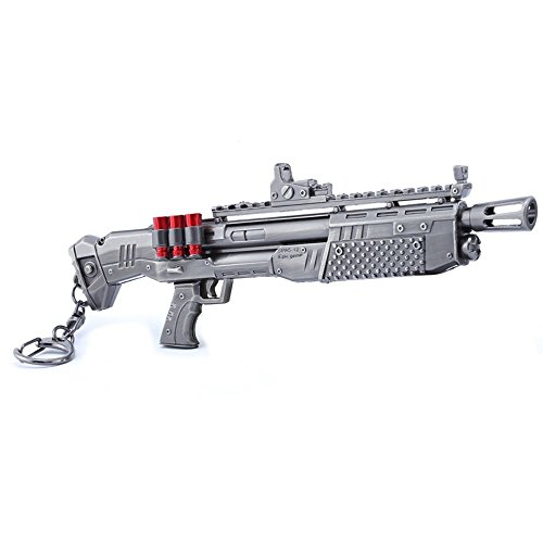 Llavero de metal para juegos con pistola de escopeta pesada de 1/6