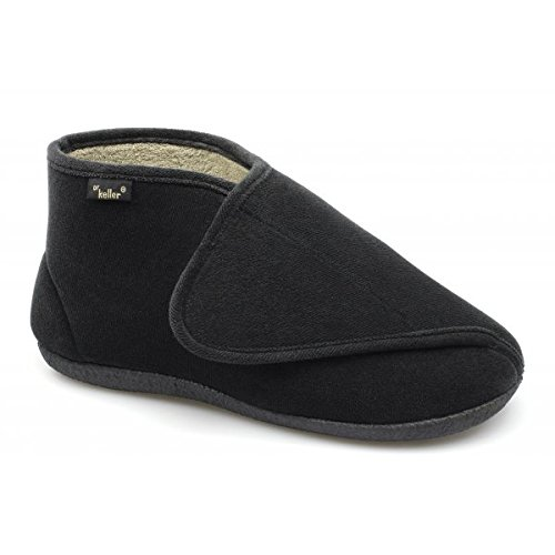 Dr Keller TERRY Mens Extra EE Wide Fit Velcro Slippers Black UK...
