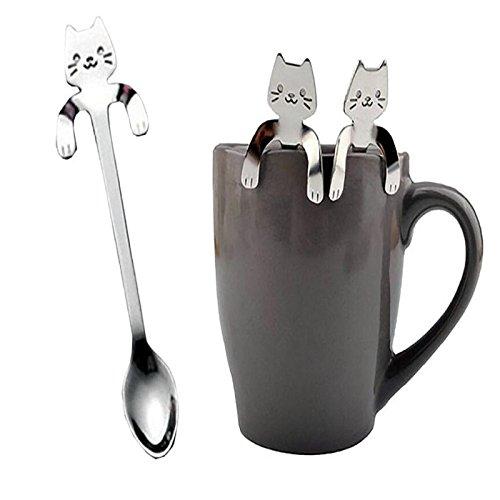 Komise Lovely Cat Motif cuillère à manche court Home Couverts Cuillères à Café boire outils Gadget de Cuisine