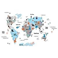 Tilki Dünyası Eğitici Koyu Gri, Açık Mavi Dünya Haritası, Dünya Atlası Çocuk Ve Bebek Duvar Sticker