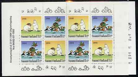 Booklet - Finland 1994 Moomin 8 klass booklet complete and pristine, SG SB42 FAIRY TALES BRIDGES JandRStamps