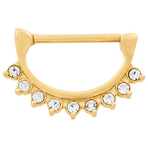 Piercingline piercing en acier chirurgical ® nippelpiercing clicker 9 cristaux transparents goldfarben