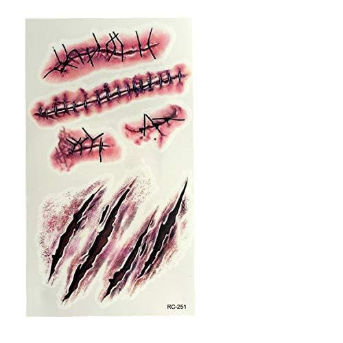 (CTGVH 1 Stück Halloween Narben Tattoos, Wasserdichte Fake Wunde Narbenblut-Tattoos für Halloween Party, Make-up Cosplay Scar B)