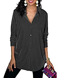 72474973147c1 Elapsy Womens Velvet Tops Long Sleeve Button Down Tunic Blouse T Shirt