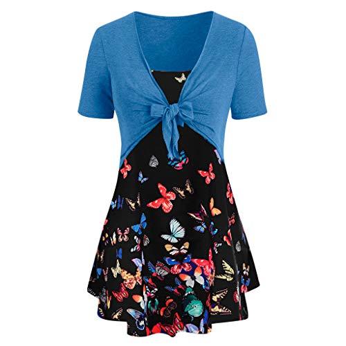 Sanahy Damen Sommerkleider V-Ausschnitt, Elegante Lässige Minikleid Sexy Retro Druck Kleid Strappy Bandagen (Oberteile+Kleider)