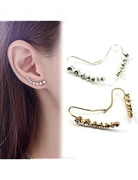 HuntGold 1 Par pendiente cristal para mujeres Ear Stud clip del oído ...