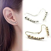 HuntGold 1 Par pendiente cristal para mujeres Ear Stud clip del oído (plata)