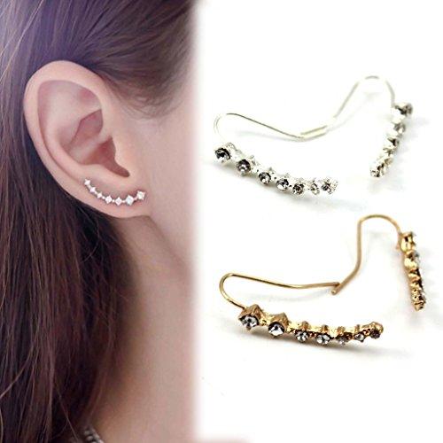 HuntGold-1-Par-pendiente-cristal-para-mujeres-Ear-Stud-clip-del-odo-plata