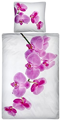Aminata Kids - Bettwäsche-Set 135-x-200 cm Orchidee-Motiv Blume-n Muster 100-% Baumwolle Renforce Weiss-e pink-e rosa lila