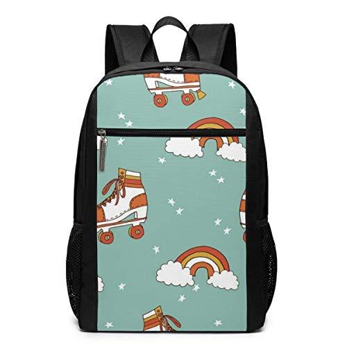 Rollerskate Retro Rainbow Laptop Backpack for Women Men,School College Backpack Travel Backpack Fits 17 Inch Notebook (12