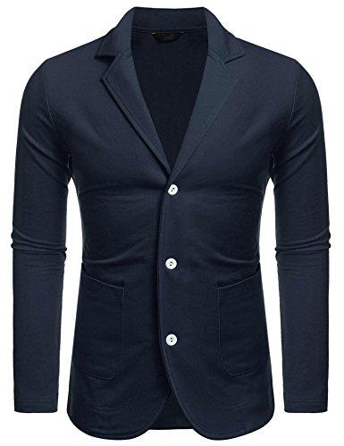 MAXMODA MAXMODA Herren Slim Fit Sakko V-Ausschnitt Anzugjacken knopf Blazer mit Vordertasche