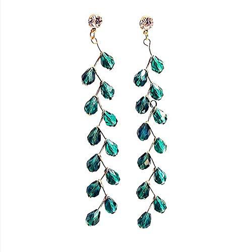 QYMX Ohrring-Frauen, grüne Perlen-Quasten-Ohrringe für Frauen-Aussage-Goldfarbe baumeln handgemachte böhmische Entwurfs-Ohrringe online