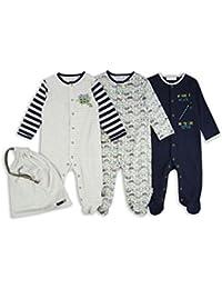 The Essential One - Baby-Jungen - Eule Schlafanzuge - (3-er Pack mit Beutel) - Blau / Grün / Grau - ESS184