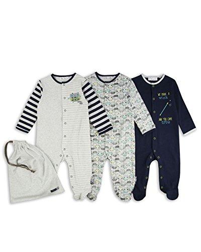 The Essential One – Bebé niños – Búho Pijamas – Paquete de 3 – Azul / Verde / Gris – ESS184