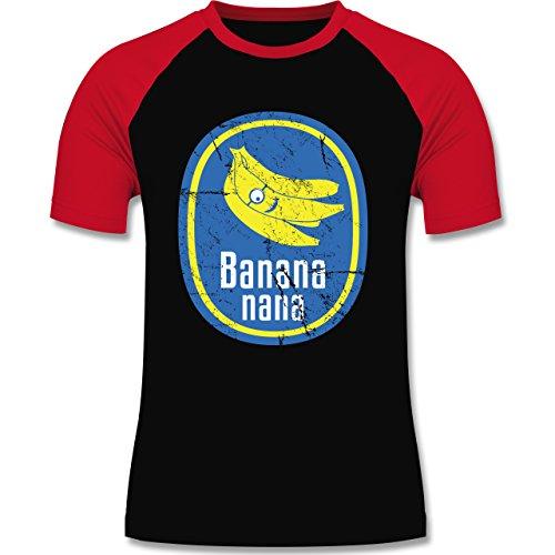 Comic Shirts - Banana nana Vintage - zweifarbiges Baseballshirt für Männer Schwarz/Rot
