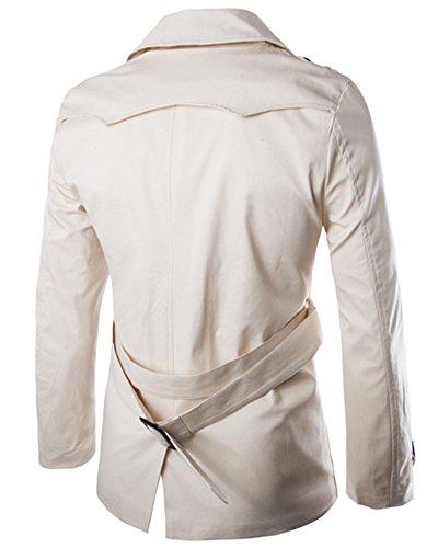 Hommes Trench-Coat Veste Double Boutonnage Manches Longues Manteau Jacket Beige