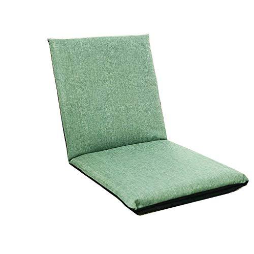 DUOER-Klappstühle Klappbarer gepolsterter Bodenstuhl mit Verstellbarer Rückenlehne Dicker Sitzkissen Lazy Lounge Sofa (Color : Green)