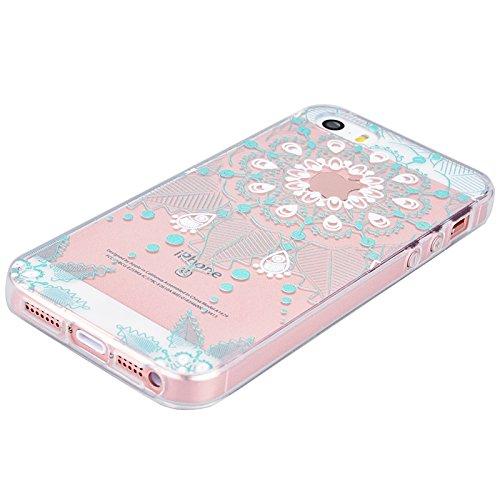 Für iPhone 5 Cover, Yokata iPhone SE / iPhone 5S Transparent mit Blumen und Laub Motiv TPU Backcover Soft mit Weich Silikon Bumper Crystal Schutzhülle Durchsichtig Extrem Slim Dünne Case Hülle - Lila Grün
