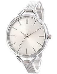 Mingbo Dalas Six I Bijou V6AM Reloj de pulsera para mujer, minimalista y delicado, cuarzo, plata y acero inoxidable