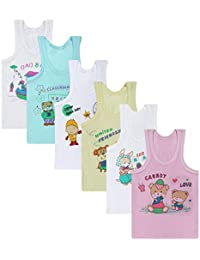 Superminis Baby Boy's and Baby Girl's Cotton Sleeveless Printed Regular Fit Vests/Inner Wears (Multicolor) - Pack of 6