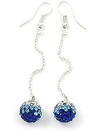 a3b239e66fc3 Color azul transparente de diamante cadena de bolas pendientes de gota  chapado en plata –