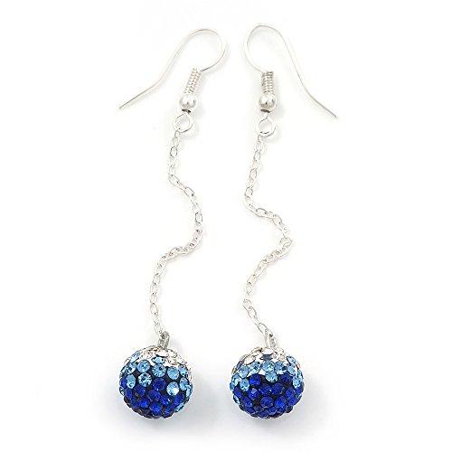 Orecchini placcati in argento con pendenti a sfera brillantinati trasparenti e colore blu zaffiro, diametro 10mm e lunghezza 6,5cm