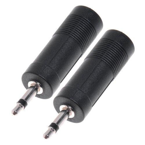 Steckeradapter für Instrumentenkabel für den Anschluss zwischen Gitarre / Mikrofon und PC, 3,5mm Anschluss auf 6,35mm 1/4 Zoll, 2 Stück