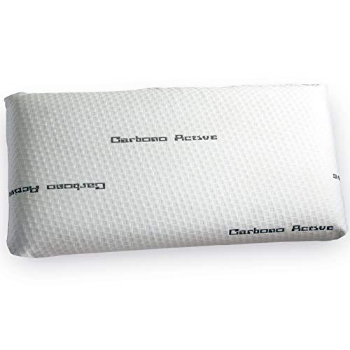 Almohada Jarrosa Viscoelástica Modelo Carbono Perforada, Color Blanco, Medida 70cm (Otras Medidas Disponibles)