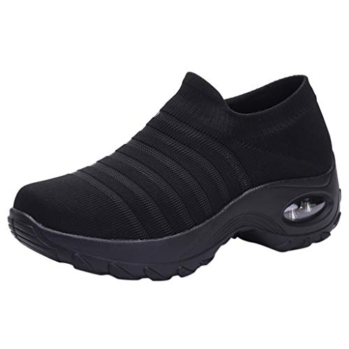Damen Wanderschuhe Socken Sneakers Plateauschuhe Abriebfeste Mesh Sportschuhe Slip On Turnschuhe Freizeitschuhe Lazy Schuhe, Schwarz-2, 35.5 EU
