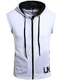 Couple Camp Herren Kapuzen Ärmellos Shirt Sport Tops Kapuzenpullover  Sleeveless Hoodie mit Reißverschluss… 447dddfa78