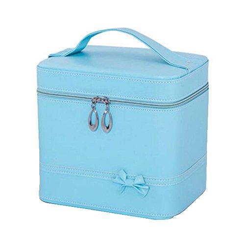 Classique Maquillage élégant Cosmetic Case cas cosmétique portatif, bleu