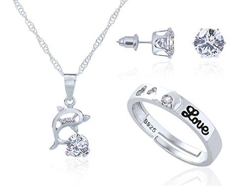 majesto–925Sterling Silber Delfin Anhänger Halskette Ohrstecker verstellbar Ring Set für Frauen Teen Mädchen Farbe Cz Wedding Ring Sets
