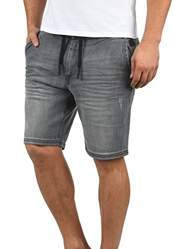 Blend Bartels Herren Jeans Shorts Jogger-Denim Kurze Hose Mit Elastischem Bund Und Destroyed-Optik Aus Stretch-Material Slim Fit, Größe:M, Farbe:Denim Grey (76205) - Samt 5-pocket-hose