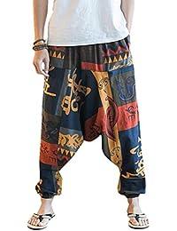 6d7238bd96 ZIXINGA Unisex Harén Aladdin Hippy Pantalones Baggy Hippie Boho Yoga  Wideleg Pantalones para Hombres