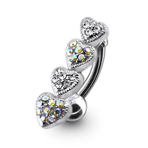 Bijou de corps anneau de nombril 4 cœurs à pierre Argent Sterling avec 14G-3/8 Inch (1.6x10MM) Banana Acier chirurgical 316L Rainbow