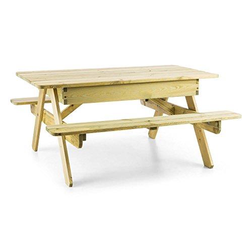 Blumfeldt Table de Jeux ou Pique Nique (idéal pour Enfants, bac à Sable intégré, résistant aux intempéries grâce à Son Traitement Autoclave) - Bois