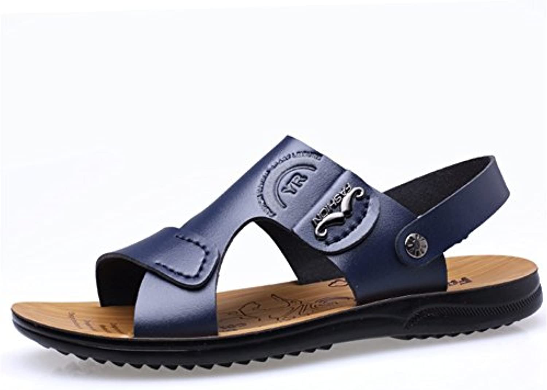 HUAN Herren Strandschuhe Freizeit Ziehen auf Sandalen Leder Pantoffel Sommer Lässig Büro  Karriere IM Freien