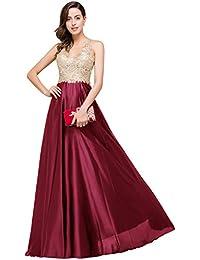 Babyonlinedress Vestido largo de novia de satén para boda y fiesta vestido con aplicaiones estilo A line y elegante