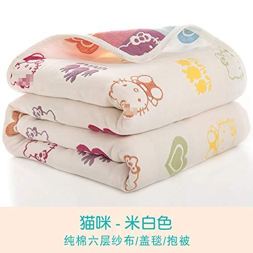 Sommer Quilt Baumwolle Sechslagige Gaze Kinder Handtuch Von Baby-Badetuch Baby-Abdeckung Decke 110X110 Weiß Bettwäsche Cashmere-gaze