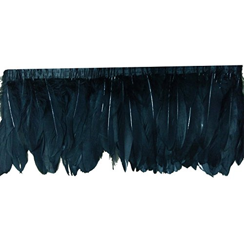 knowing 2M White Goose Feather Belt, Feather Trimming Ribbon Feather Trim Feather, Fringe Party Fancy Dress, Fringe Halloween Costume Decoration (Schwarz) -