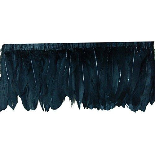 2M Cinta de plumas de ganso ,Ajuste de la franja de plumas de ganso negro,Para bolsos de mujer, collares, tocados, ropa, zapatos, sombreros, Negro