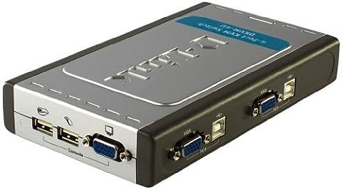 D-Link DKVM-4U Commutateur Ecran/Clavier/Souris 4 Ports 2 Câbles Fournis PS2 USB Gris